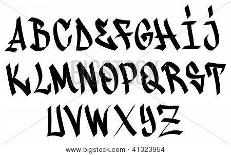 Design sketch graffiti alphabet letters the paper