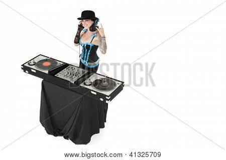 Female DJ gesturing rock sign over white background