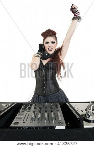 Punk DJ with arm raised over white background