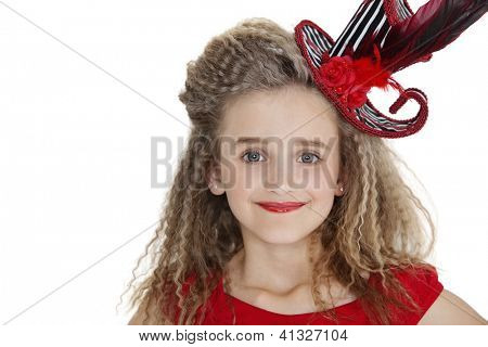 Portrait of girl wearing red lipstick and hat over white background