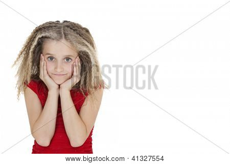 Portrait of bored girl in red outfit over white background