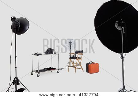 Lighting equipments in photographer's studio