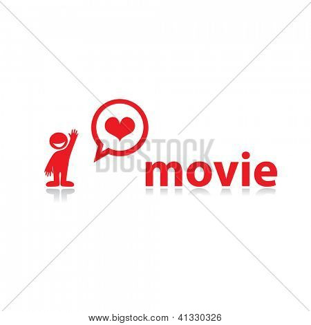 I love movies! Template for design. vector