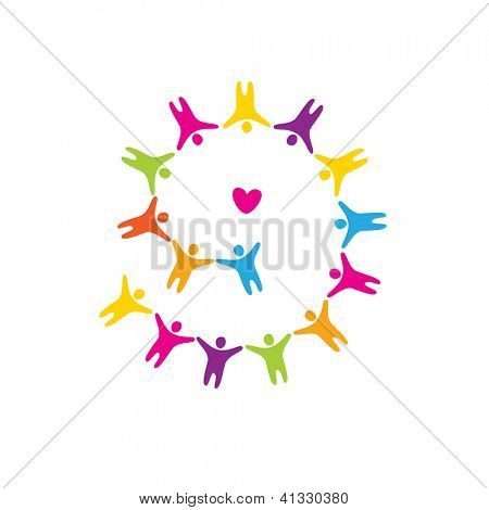 Sign - love unites. The heart and the people around. vector