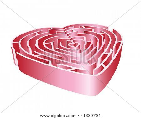 A 3D heart maze in shades of pink. Isolated on white background. EPS10 vector format.