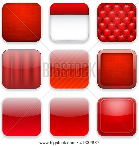 Vector illustration of red high-detailed apps icon set. Eps10.