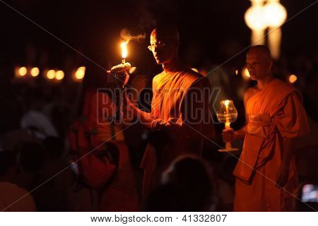 CHIANGMAI THAILAND NOVEMBER 24  : buddhist monks procession  in Loy Krathong and Yi Peng Festival on november 24, 2012 Chiangmai, Thailand