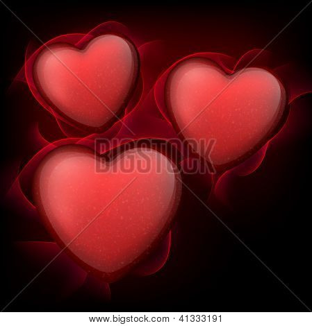 Vector illustration of red hearts with sparkles. eps 10. Classical smooth style.
