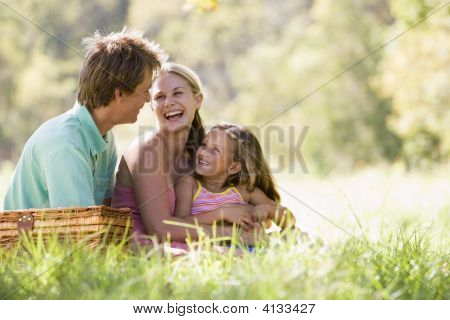 Families At Park Having A Picnic And Laughing
