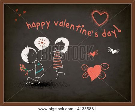 Valentine's Day Greeting on a Chalkboard - Cartoon figures of boy declaring love for a girl, blackboard chalks, with hearts and Valentine's greeting