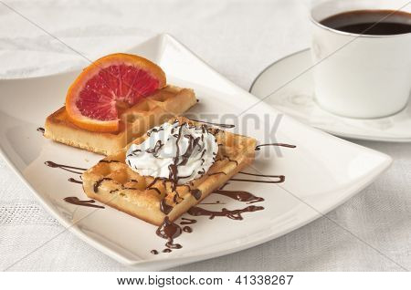 Coffee And Waffers With Whipped Cream