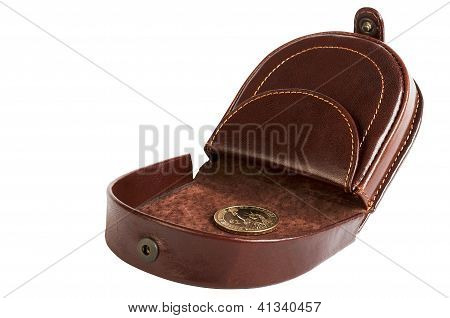 Purse With One Dollar Coin