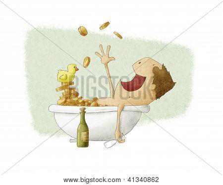 Man Bathing In Money