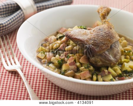 Confit Duck Leg With Flageolet Beans And Bacon