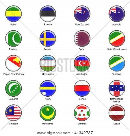 Vector World Flag Buttons - Pack 7 of 8