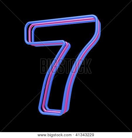 3d neon number 7 isolated on black background