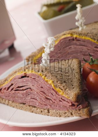Pastrami On Rye Bread With Mustard