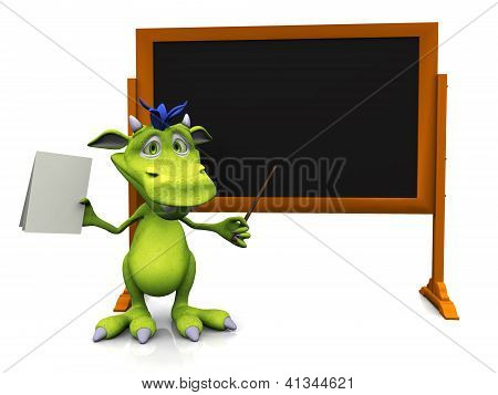 Cute Cartoon Monster Standing In Front Of Blank Blackboard.
