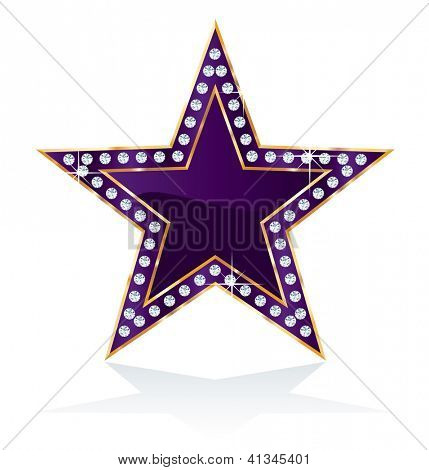 dark purple golden star with diamond screws, vector template for cosmetics, show business or something else