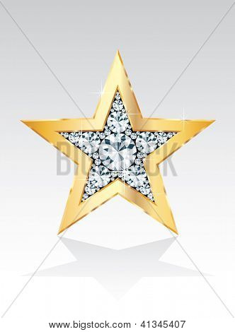 golden star with diamonds, vector template for cosmetics, show business or something else
