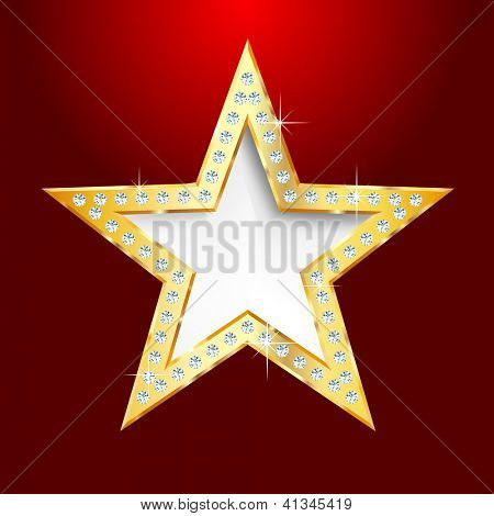 golden star on red background with diamond screws,vector template for cosmetics, show business or something else