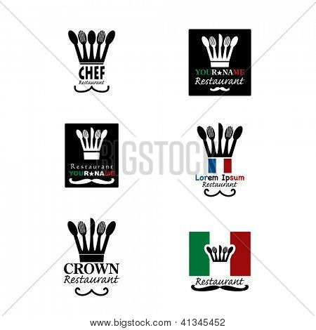 original signs for restaurant with chef hat like crown