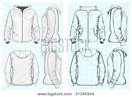 Vector. Men's hooded sweatshirt with zipper (back, front and side view). No mesh. Different variants: outlines and detailed.