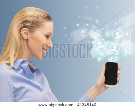 bright picture of woman with cell phone