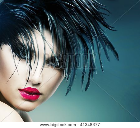 Fashion Art Girl Portrait. Punk Style Model. Vamp Style. Glamour Vampire Woman