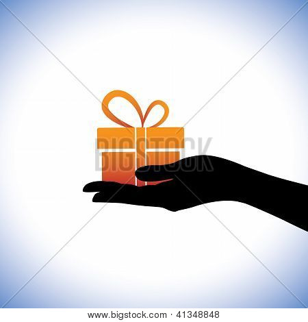 Illustration Of Person Giving/receiving Gift Package. This Conceptual Graphic Represents Gifting Tim