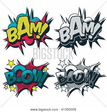 Bam Boom Illustrated Vector Comic Graphic