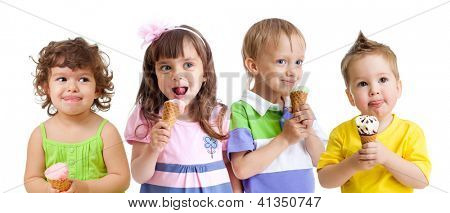 kids group happy with cone ice cream