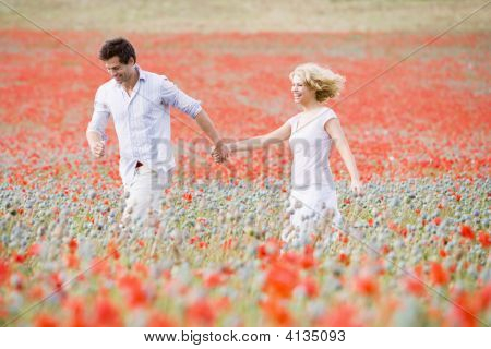 Couples Walking In Poppy Field Holding Hands Smiling