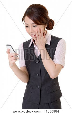Smiling business woman of Asian looking message on mobile phone, closeup portrait on white background.