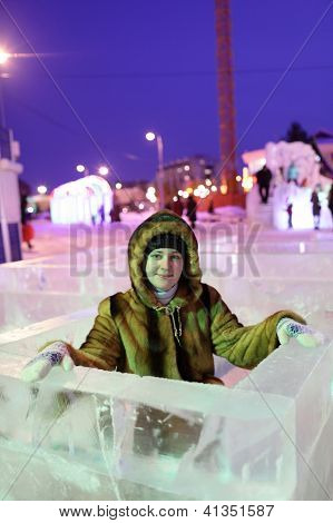 Girl At Ice Labyrinth