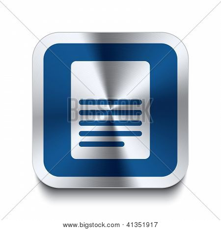Square Metal Button - Blue Page Icon