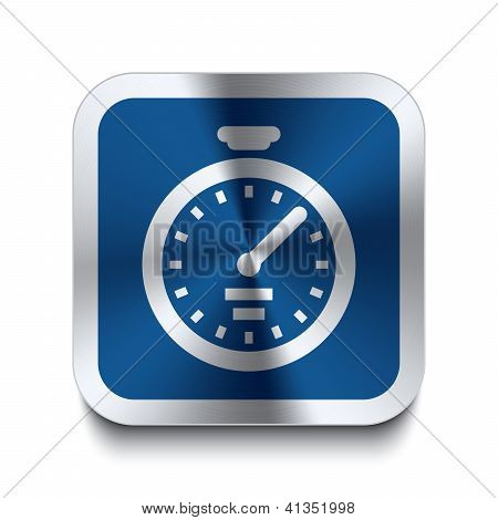 Square Metal Button - Blue Stopwatch Icon