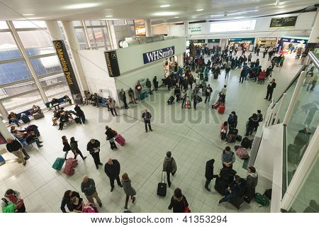 GATWICK, ENGLAND - JANUARY 6. Busy airport at the end of Christmas holidays at Gatwick airport, England on January 6, 2013. Over 34 million passengers passed through Gatwick in 2012.