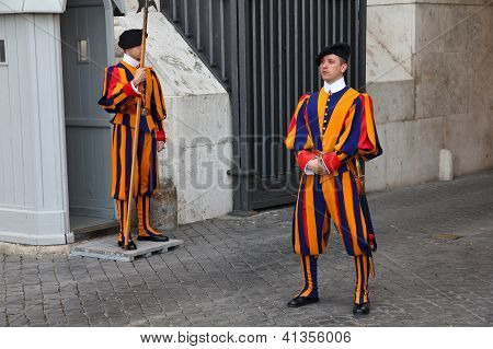 Swiss Guards In Vatican