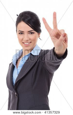 picture of lovely business woman showing victory sign