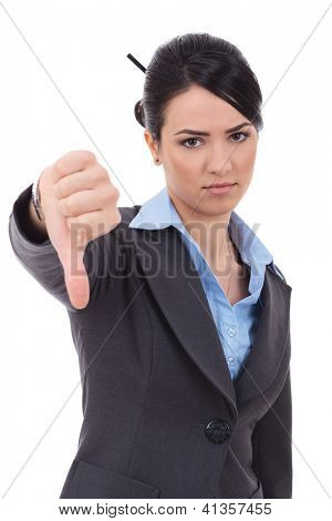 severe businesswoman with thumb down on white background studio