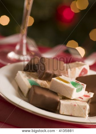 Plate Of Chocolate Dipped And Plain Nougat