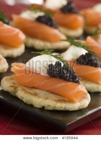 Smoked Salmon Blinis Canap S With Sour Cream And Caviar