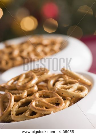 Bowl Of Salted Pretzels