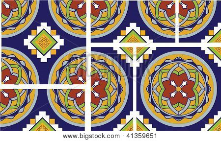 Intricate Talavera Inspired Tile With Floral Motif