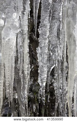 Icicles On Mountain Cave Rocks