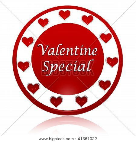 Valentine Special Red Circle Banner With Hearts Symbols