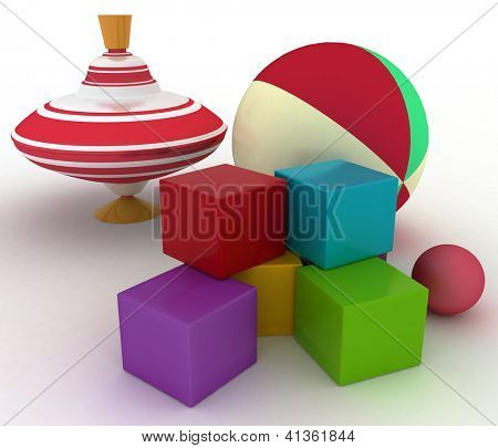 3d render illustration of child's toys. Ball, blocks and spinning top