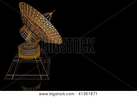 3d satellite dish on the black  background
