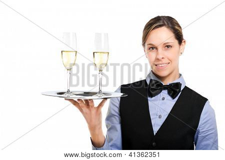 Waitress holding a plate with flutes of champagne